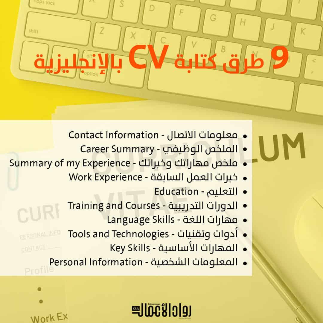 كتابة CV بالإنجليزية